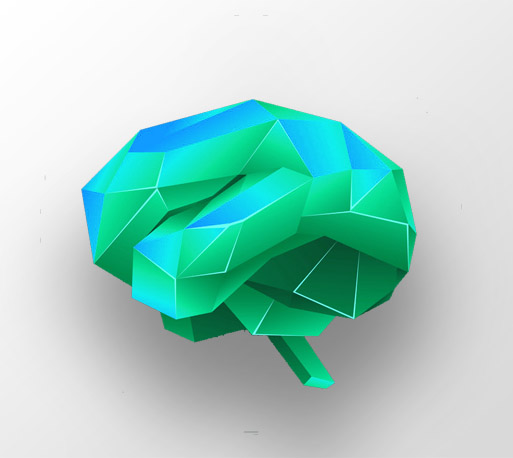 Red low poly human brain on a black background. Abstract anatomy organ. Brain in 3D polygon style.