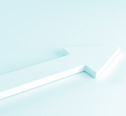 White arrow laying down on white background. 3d rendering